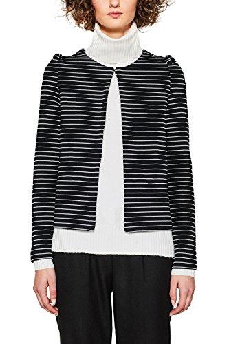 Baumwolle Gestreiften Blazer (ESPRIT Damen Anzugjacke 127EE1G017, Mehrfarbig (Black 001), 44 (Herstellergröße: XXL))