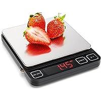 Sooreally Báscula de Cocina Digital con Innovadora Pantalla LED Rojo HD, Balanza Precisa Multifunción Tara y Apagado Automático Hasta 5 kg, Superficie de Acero Inoxidable con Pilas Incluidas