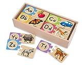 Melissa & Doug 12541 Self-Correcting Alphabet Wooden Puzzles With Storage Box (52 pcs)