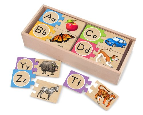 Melissa & Doug Self-Correcting Alphabet Wooden Puzzles With Storage Box (52...