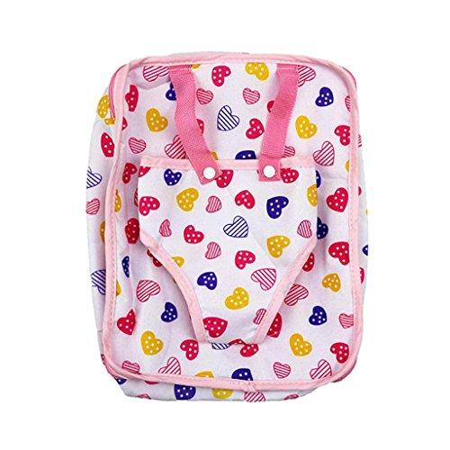 Homyl Puppen Rucksack Tasche mit Herz Muster für 18 Zoll Mädchen Puppe Kleidung Zubehör - Kleidung Muster Puppe