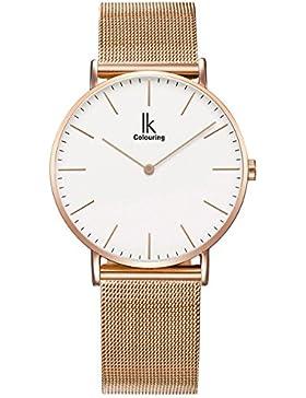 Alienwork IK Quarz Armbanduhr elegant Quarzuhr Uhr modisch Zeitloses Design klassisch Metall weiss rose gold U04916G-05