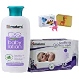 Himalaya Herbals Baby Lotion (200ml)+Himalaya Herbals Soothing Baby Wipes (72 Sheets) With Happy Baby Luxurious Kids Soap With Toy (100gm)