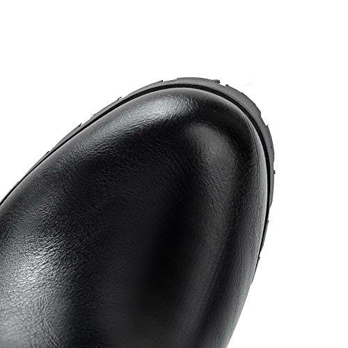 AllhqFashion Femme Tire Couleur Unie Haut Élevé Bottes avec Nœuds à Deux Boucles Noir