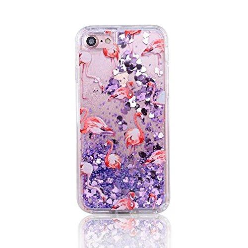 MERES bordo morbido che scorre sabbie mobili Hard Case di scintillio della scintilla Cuore galleggiante per iPhone 6 6G 4,7 inch viola