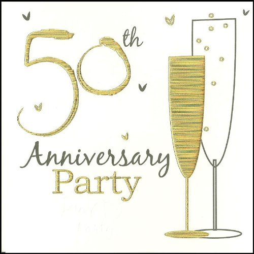 Einladungskarten zur goldenen Hochzeit, 50. Hochzeitstag, holographisch, englische Aufschrift, inkl. Umschläge, 6 Stück