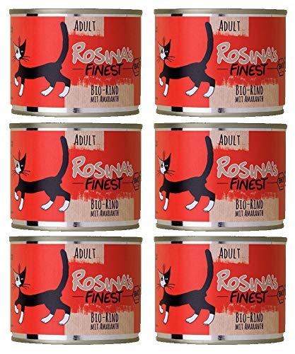 Rosina's Finest Bio Katzenfutter Feucht Rind mit Amaranth, 6er Pack (6 x 200 g) -