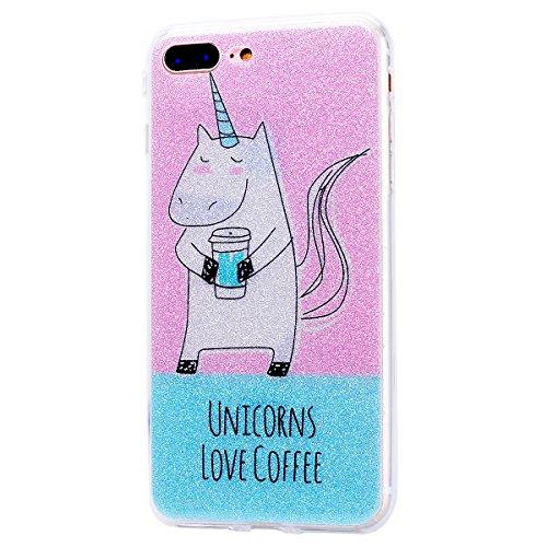 """WE LOVE CASE iPhone 8 Plus Hülle Glitzern Transparent Durchsichtig Farbe iPhone 8 Plus 5,5"""" Hülle Silikon Weich Diamond Handyhülle Tasche für Mädchen Elegant Backcover , Soft TPU Flexibel Case Handyco Unicorn"""