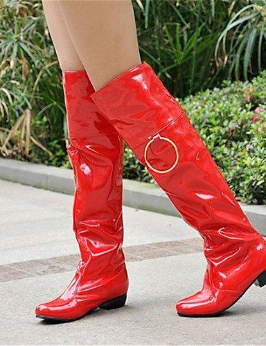 Feder Abend Shangyi Low Lack Motorrad Kleid Party Winter amp; Heel Mode Damenschuhe Stiefel Schuhe Rot And qFvBw1RF