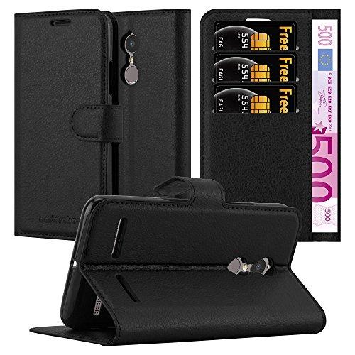 Cadorabo Hülle für Lenovo K6 / K6 Power - Hülle in Phantom SCHWARZ - Handyhülle mit Kartenfach & Standfunktion - Case Cover Schutzhülle Etui Tasche Book Klapp Style
