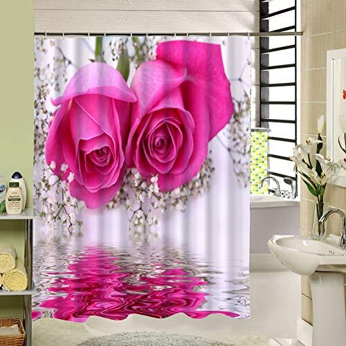 2230 Mint (WZYMNYL Reflexion Rosa Blume Duschvorhang Bad Wasserdicht Mehltaubeweis Polyestergewebe mit 12 Haken 180 cm * 180 cm,W180X180CM)