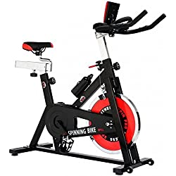 SG - Bicicleta spinning regulable 24 kg por correas, con pulsómetro