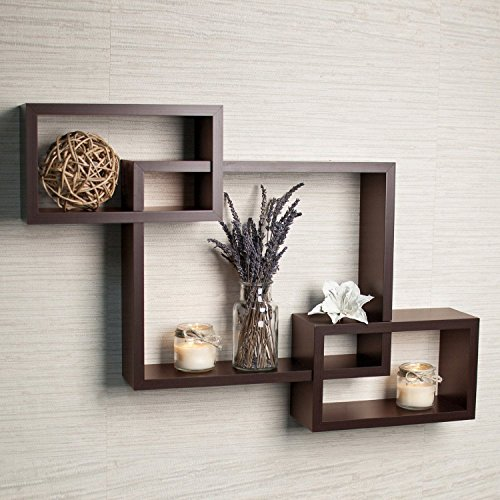 Mamta Decoration Wall Mounted Shelf Set of 3 Floating Intersecting Storage Display Wall Shelves - Brown