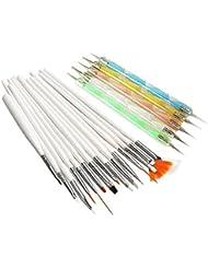 Contever® 20 pcs Professional Nail Art Design Pen brosses les outils de stylos (15pcs Pinceaux/Brosse à Ongles + 5pcs Stylos Dotting Tools)