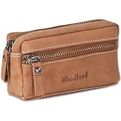 Woodland - cuero bolso de la llave con 2 llaveros hecha de piel de ante suave, sin tratar en Cognac