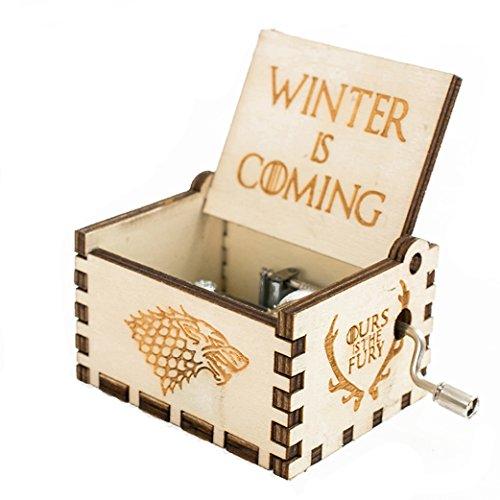Antike Geschnitzte hölzerne Spieluhr Handkurbel Musik: Game of Thrones Gift Flügelwinter kommt