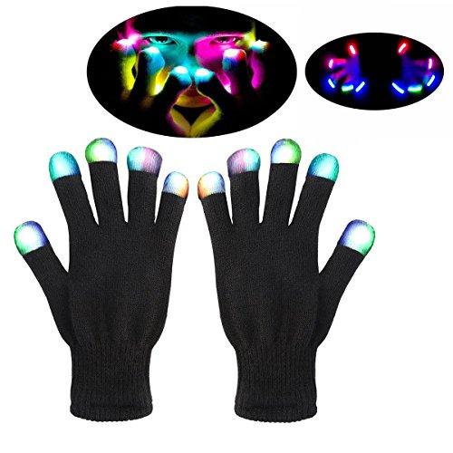 Hallowmas LED-Handschuhe Party Licht Show Handschuhe- Die besten Gloving & Lightshow Tanzen Handschuhe für Clubbing, Rave, Geburtstag, EDM, Disco und Dubstep Party (Weiß Rave Handschuhe)