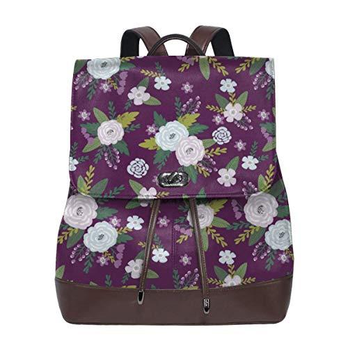 Mode Leder Rucksack Pet Quilt C - Floral Coordinate - Purpur Geldbörse wasserdichte Anti-Diebstahl-Rucksack PU-Ledertaschen -