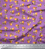 Soimoi Lila schwere Leinwand Stoff Streifen & Orange Obst
