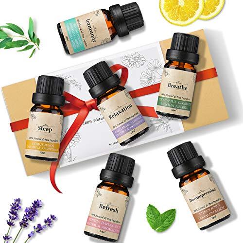 Janolia Aceites Esenciales, 6x10ML Aceites de Aromaterapia Pura Set, Sueño, Respira, Relajación, Refrescar, Inmunidad, Descompresión