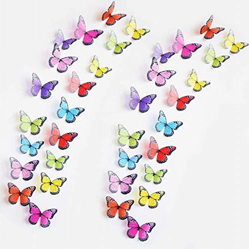 WandSticker4U- 36er 3D Schmetterlinge mit Glitzern BUNT | Wand Raum Fenster Möbel Dekoration Hochzeit Basteln Tischdeko Butterfly | Deko für Wohnzimmer Schlafzimmer Kinderzimmer Kinder