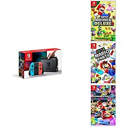 Pack Nintendo Switch Néon + New Super Mario Bros U Deluxe + Super Mario Party + Mario Kart 8 Deluxe