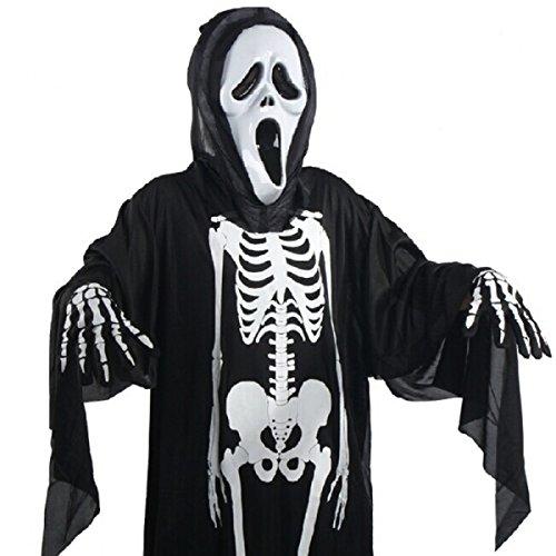 FLIEGE Halloween Schädel Skeleton Handschuhe Dress Up Kleider Halloween Kostüm Kleidung Erwachsene Kinder Terror (Dressups Erwachsene)