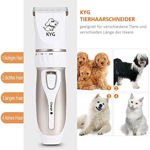 KYG Profi Hunde Schermaschine Elektrische Tierhaarschneider Haarschneidemaschine Haustiere Mit Aufsteckkümmen,Schere,Nagelfeile Gold/Weiß - 5