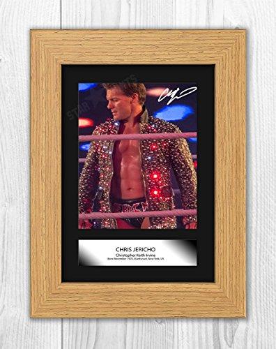 Chris Jericho WWE Wrestler Signed Autograph Reproduction Photo A4 Print (Oak Frame)