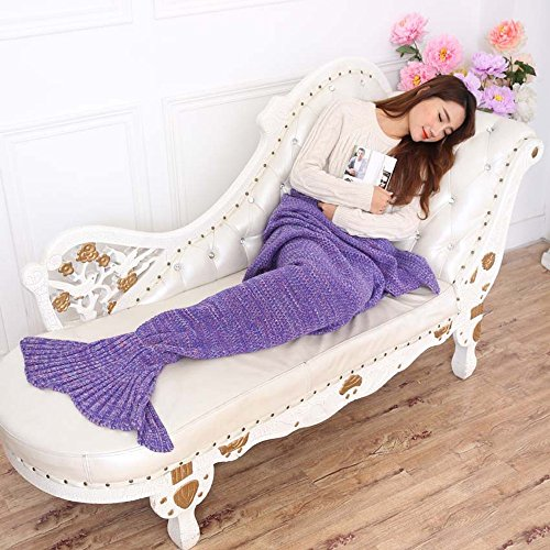 Neify - Coperta della coda della sirena - Coperta superba Softest del mantello della coda del mare per i capretti ed i adulti Coperta del crochet magico All Seasons Thicken Coperte di sonno ( Color : Purple )