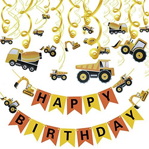 31PCS Geburtstagsfeierdekorationen Set, Konstruktionsthema Partybedarf Traktor-Banner Bagger Bulldozer Muldenkipper Zement LKW Dekor