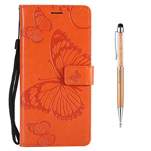 Grandoin Moto E5 Hülle, Handyhülle im Brieftasche-Stil für Motorola Moto E5 Handytasche PU Leder Flip Cover Schmetterling Muster Design Premium Book Case Schutzhülle Etui Case (Orange)