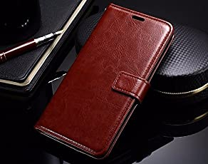 HOM Wallet Book Design Phone Case with Flip Cover and Credit Card Slot, Magnetic Closure, Stand View Case ForLenovo Phab Plus - Brown