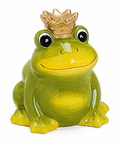 Spardose Frosch Froschkönig aus Keramik 12 cm groß grün mit Krone Gold, Gelddose Sparbüchse abschließbar mit Schlüssel, Geschenk zur Geburt Taufe Geburtstag