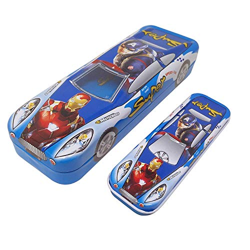 GSM® Multicolour Cartoon Printed Car Shape Metal Pencil Box with Small Car in Side and Comes with a Free elkos Colour df Pen for Kids Boys and Girls GSM®Dumanhill Registered Listing (for Boys)