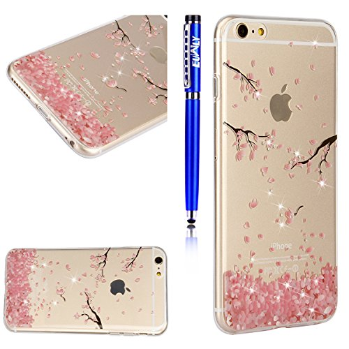 EUWLY Custodia per iPhone 6 Plus/iPhone 6s Plus (5.5), Cover Silicone Trasparente per iPhone 6 Plus/iPhone 6s Plus (5.5), EUWLY Clear Cristallo Chiaro Diamante Bling Glitter Fiori di Ciliegio Modell Fiori di Ciliegio