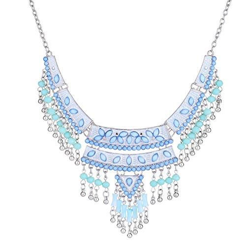 Zhenhui Boho Shells Resin Crystal Long Tessellate Fashion Charming Necklace Statement Beaded Jewelry Bib Necklace for Women