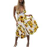 Damen Sunflower Printed Deep V-Neck Ärmellos Midi Kleid UK 12 weiß