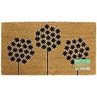 JVL Simple impresiones con puerta de entrada mat-allium flores, 40x 70cm, fibra de coco y látex, marrón, 40x 70x 1,5cm