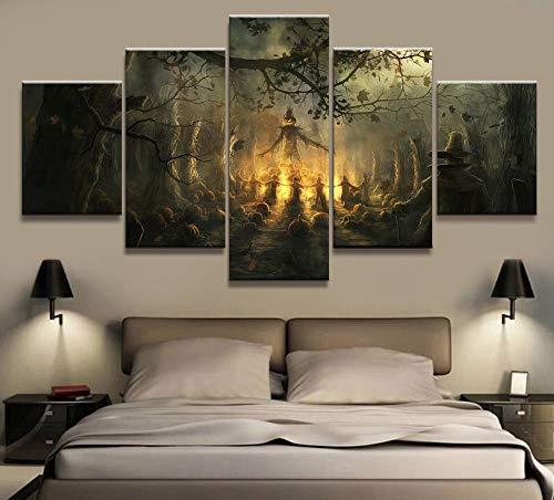 een-Thema Kürbis Leinwand gedruckt Wohnkultur Malerei Wandkunst Dekoration Modern Bilder Poster Kunstwerke,A,30×50×2+30×70×2+30×80×1 ()