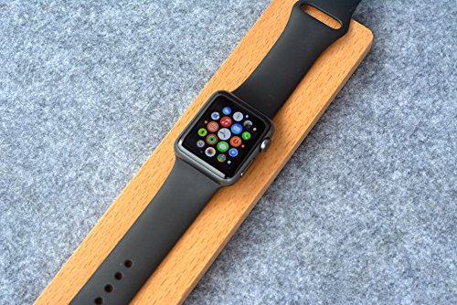 Price comparison product image eimolife®2015 Newest Portable Tiny Wooden Apple watch Charging Stand Mini Long Strips display stand Apple watch support perfectly fit for iWatch(beech)