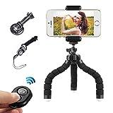 Mini trípode flexible de iPhone trípode para teléfono móvil teledirigido con Bluetooth para cámaras y teléfonos inteligentes como iPhone y Samsung