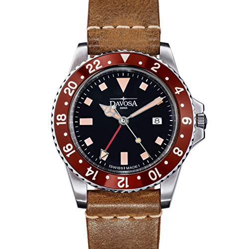 Davosa Quartz Swiss Vintage Diver Burgundy Black Leather Strap Watch 16250055