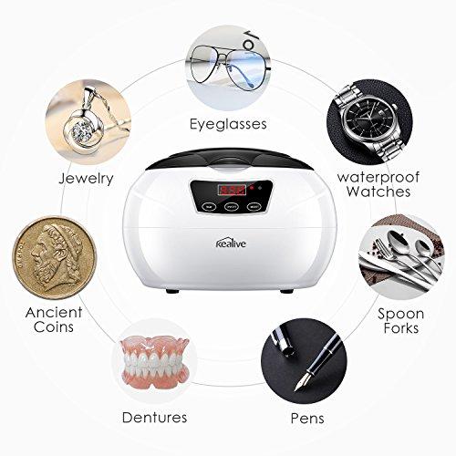 Nettoyeur à ultrasons, Kealive 600ml ultrasonique Sonic bijoux nettoyant pour bijoux, lunettes, prothèses dentaires, montres, lentilles et autres articles pour la maison et le voyage