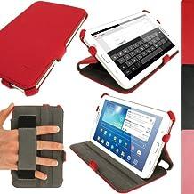 igadgitz Case Cover - Funda para tablet Samsung Galaxy Tab 3 7.0 (soporte de sobremesa, correa de mano), rojo