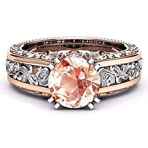 Liquidazione offerte, fittingran anello di nozze in oro rosa pietre preziose anelli di fidanzamento anello floreale con gioielli regalo (9, caffè)