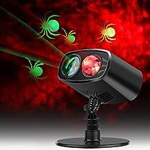Projecteur Noël LED Extérieur, Lampe d'ambiance Imperméable Rouge, Jeu de Lumière Animée ou Statique, Eclairage de Décoration Murale pour Fête Noël Carnaval