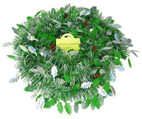 Christmas Concepts® 3m Weihnachtslametta - Weihnachtsdekoration Lametta (Green & Silver Holly Berry) Holly Berry