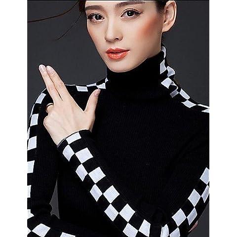 ZY/Donna coreana a maniche lunghe Fit Plaid Collo Alto In Acciaio Lana Maglione, black-l