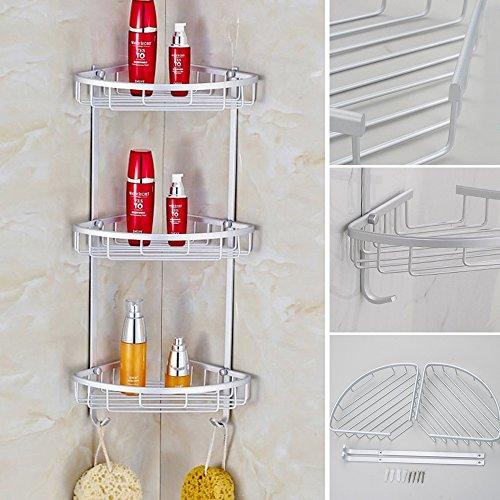 3 Capas almacenamiento estante de la pared estante de la esquina de baño Accesorios de baño estante de almacenamiento cesta ahorro de espacio de la esquina del baño estante ajustable